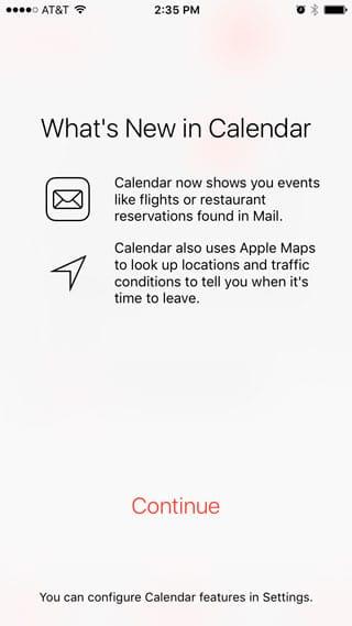 Pantalla bienvenida al Calendario de iOS 9