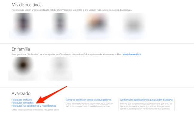 Restaurar archivos en iCloud.com