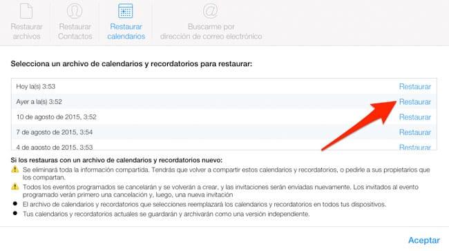 Restaurar Calendarios y Recordatorios en iCloud.com