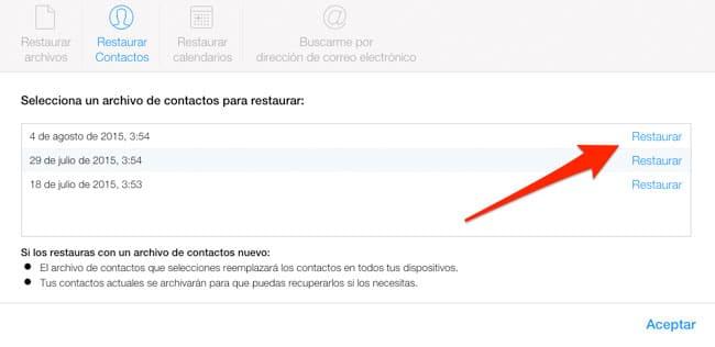 Seleccionar y restaurar contactos en iCloud.com