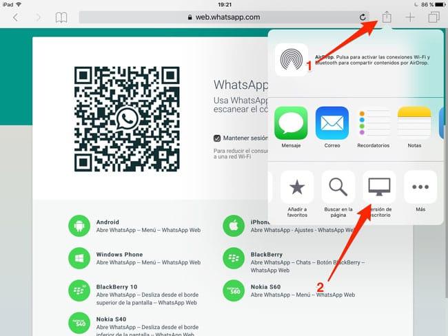 WhatsApp Web en iPad con IOS 9