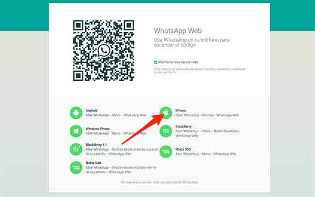 WhatsApp Web para iPhone Disponible