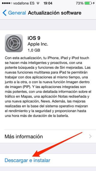 Actualizar a iOS 9 a través de OTA