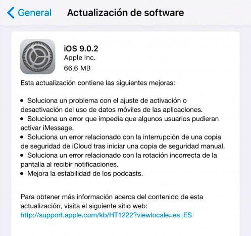 Actualización a iOS 9.0.2