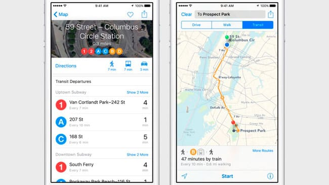 Apple Maps en iOS 9