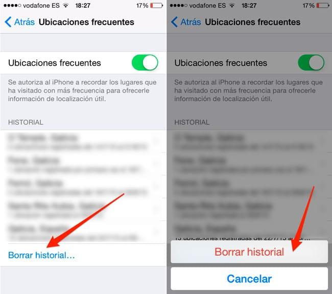 Borrar ubicaciones frecuentes en iPhone y iPad
