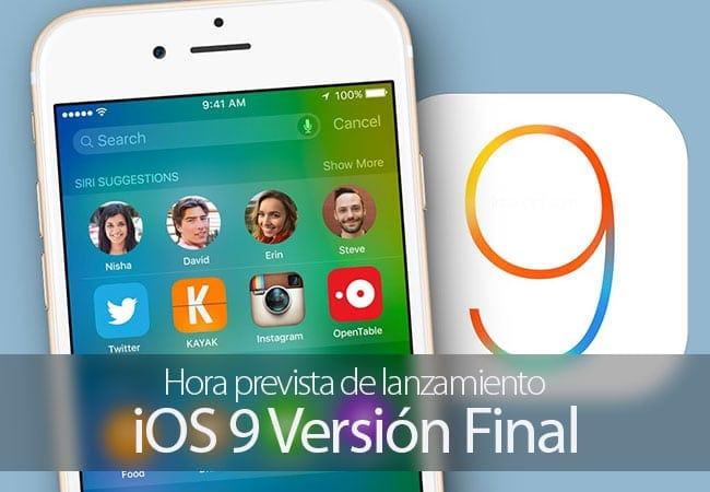 Hora de lanzamiento probable de iOS 9 versión final