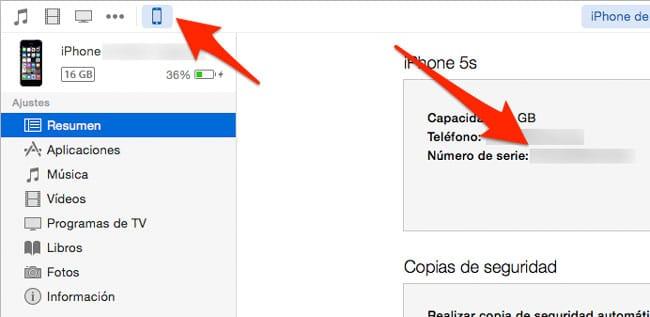 Ver número de serie desde iTunes de un iPad, iPhone o iPod Touch