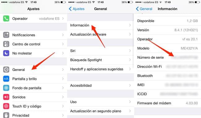 Ver número de serie de iPhone y iPad
