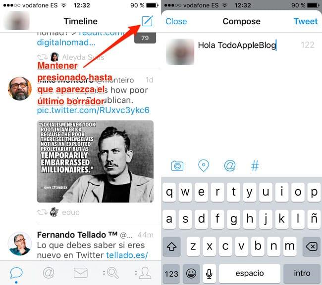 Acceso rápido al último borrador de Tweetbot 4