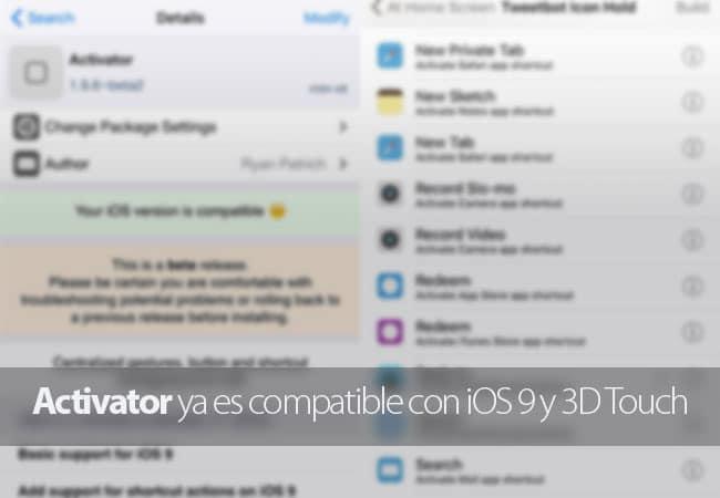 Activator se actualiza para dar compatibilidad a iOS 9