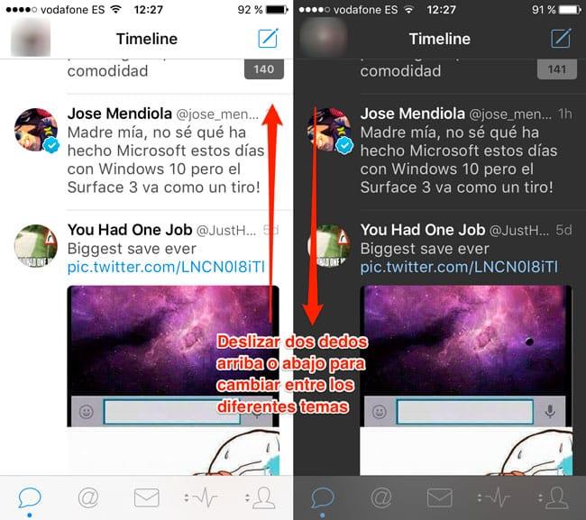 Cambiar tema Tweetbot 4 con gesto