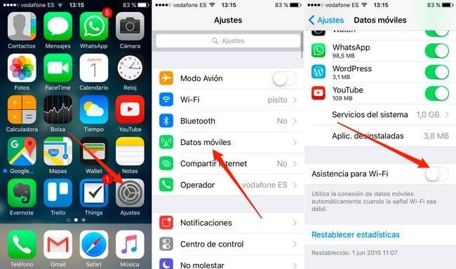 Cómo desactivar la Asistencia WiFi de iOS 9