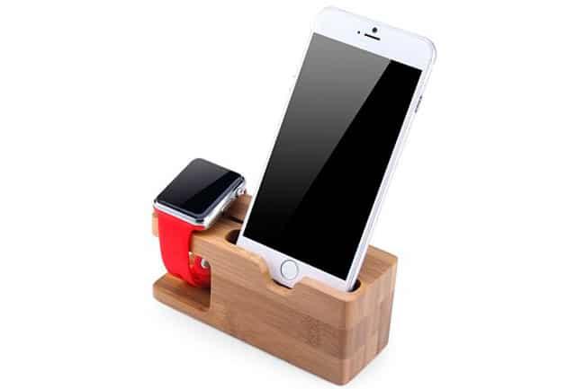 Base de carga de bambú para iPhone y Apple Watch