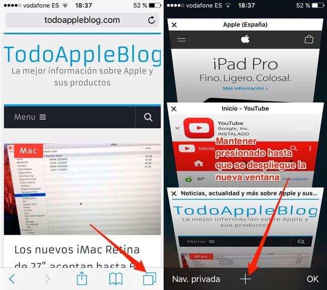 Cómo recuperar pestañas cerradas recientemente en Safari para iOS