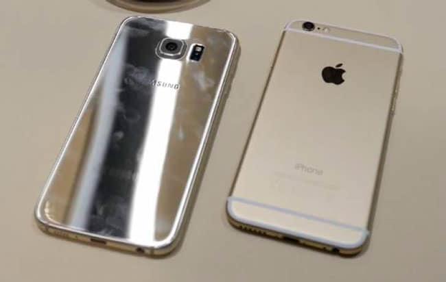 Trasera de iPhone 6s y Galaxy S6