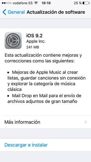 Actualización iOS 9.2 - Novedades