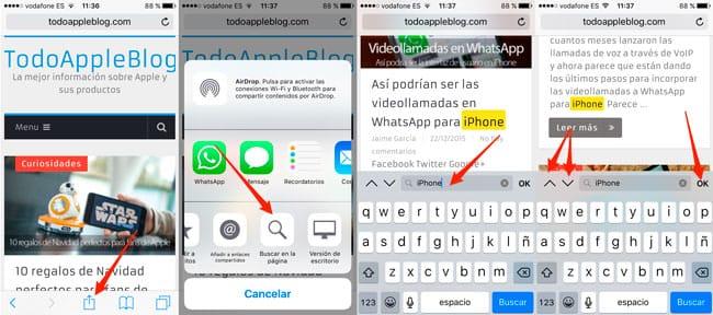 Cómo utilizar el Buscador de Safari en iOS 9