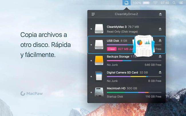 Copia de archivos desde CleanMyDrive 2