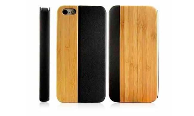 Funda de cuero negro y madera para iPhone 5