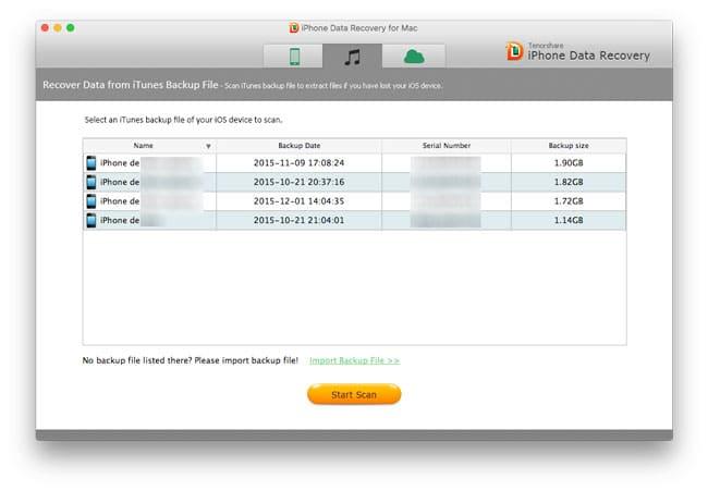 Recuperando datos desde backups de iTunes con iPhone Data Recovery