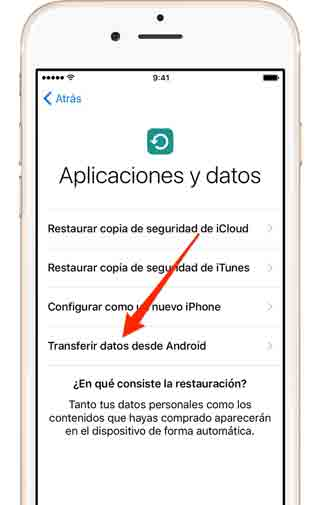 Transferir datos desde Android a iOS