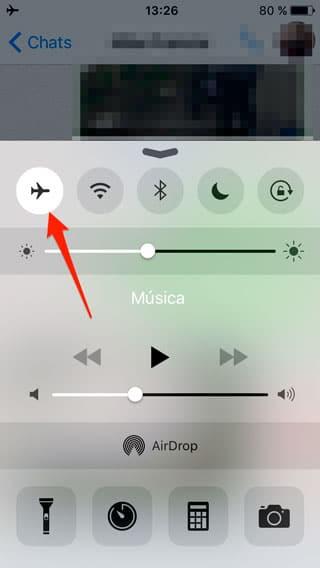 Activar modo avión iPhone