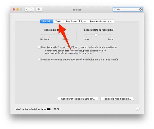 Ajustes del teclado de Mac