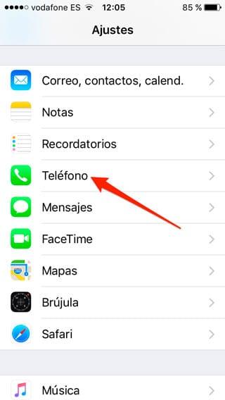 Ajustes - Teléfono en iPhone
