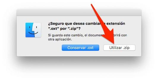 Cambiar extensión de .oxt a .zip