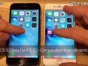 Comparativa de rendimiento de iOS 9.3 Beta 1 frente a iOS 9.2
