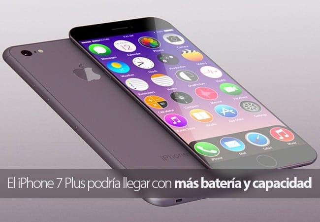 El iPhone 7 Plus podría tener más capacidad de almacenamiento y una batería más grande