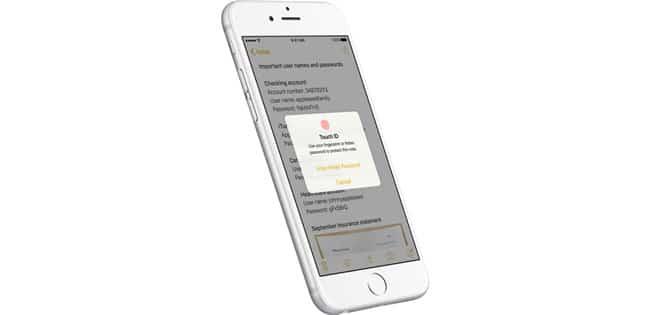 Notas incluye protección con Touch ID