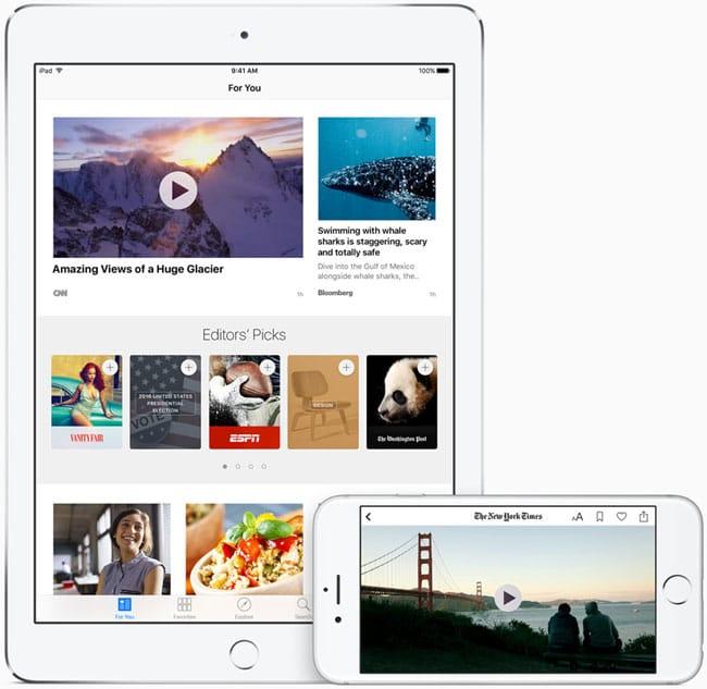 Noticias para iPhone y iPad mejoran con iOS 9.3