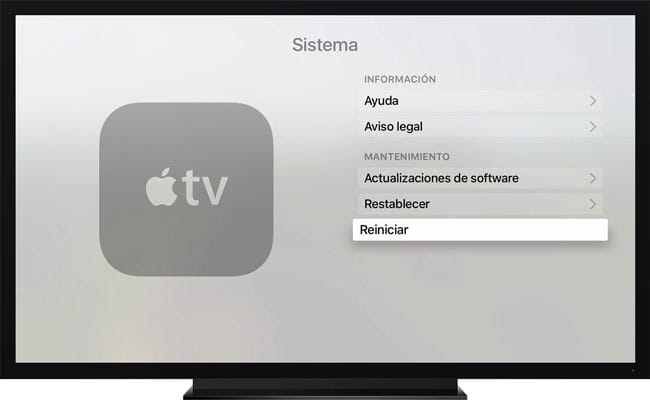 Reiniciar Apple TV desde menú