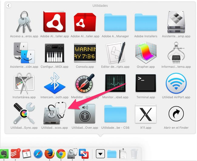 Abrir Utilidad de Discos en Mac OS X