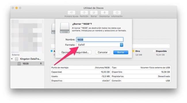 Formato ExFAT en Utilidad de Discos