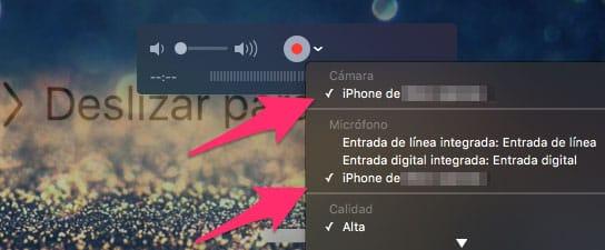 Escoger iPhone como fuente de vídeo de QuickTime