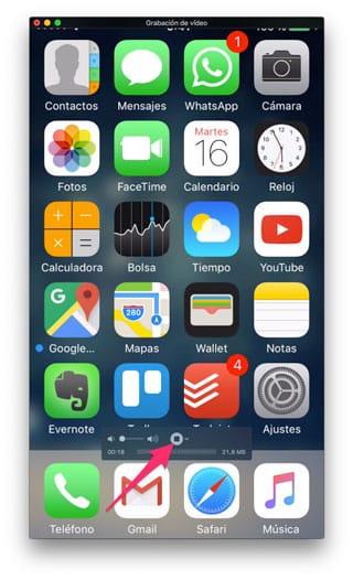 Finalizar grabación pantalla iPhone
