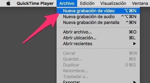 Nueva grabación de vídeo en QuickTime para Mac