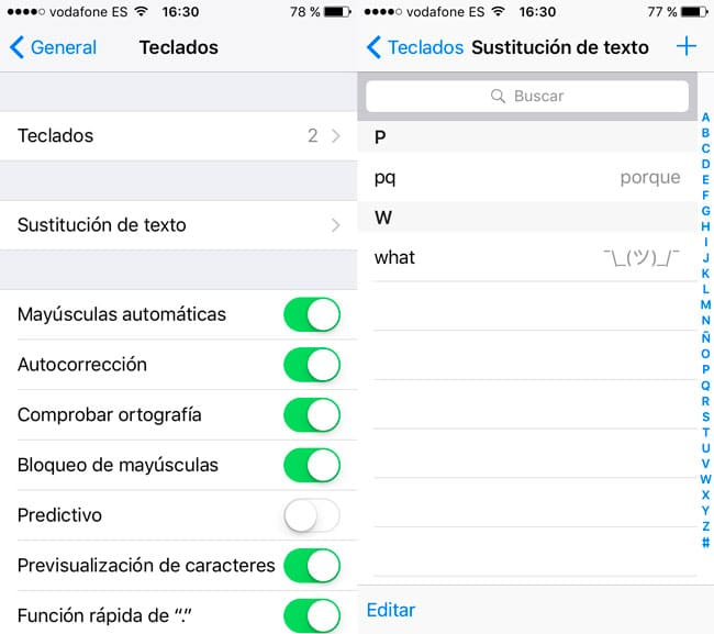 Sustituciones de texto iPhone