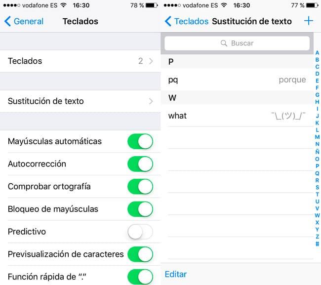 Sustituciones de texto iPhone