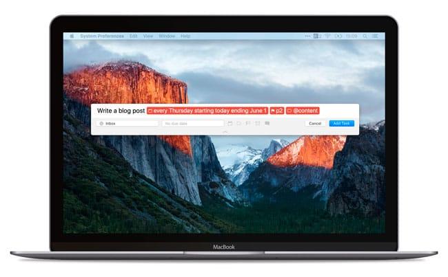 Todoist mejora la función de añadir rápido en Mac