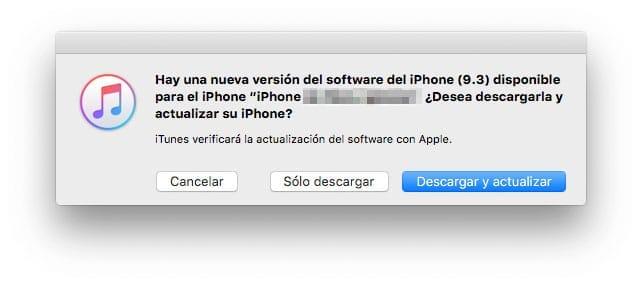 Actualización iOS 9.3 en iTunes