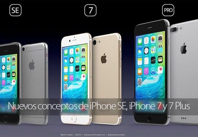 Nuevos conceptos de iPhone SE y iPhone 7 por Martin Hajek