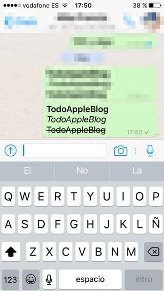 Escribir en negrita, cursiva y tachado en WhatsApp para iPhone