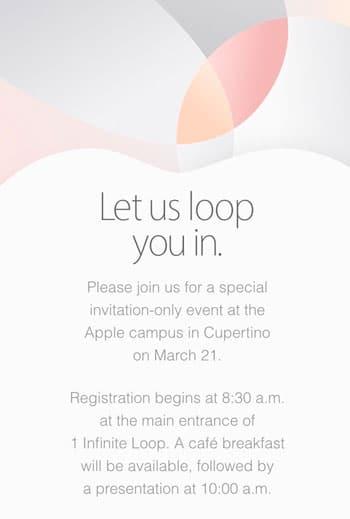 Invitación para la keynote de Apple del 21 de marzo