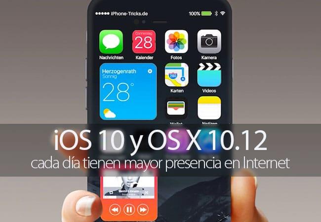 iOS 10 y OS X 10.12 aumentan su presencia en Internet