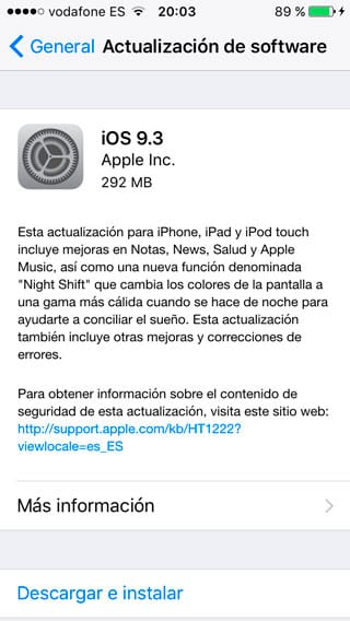 iOS 9.3 disponible en OTA