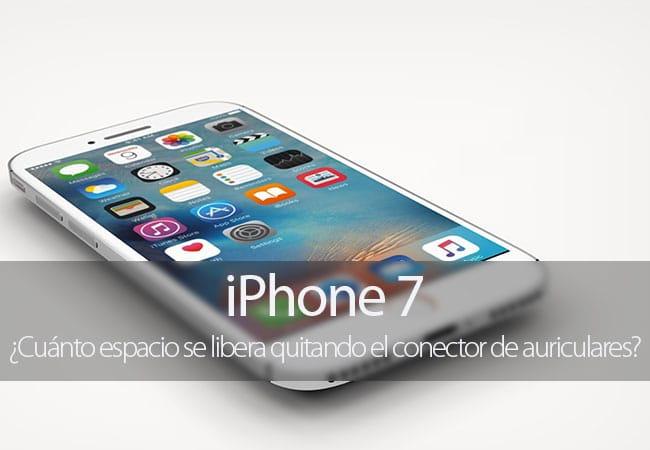 ¿Cuánto espacio se libera quitando el conector de auriculares del iPhone 7?